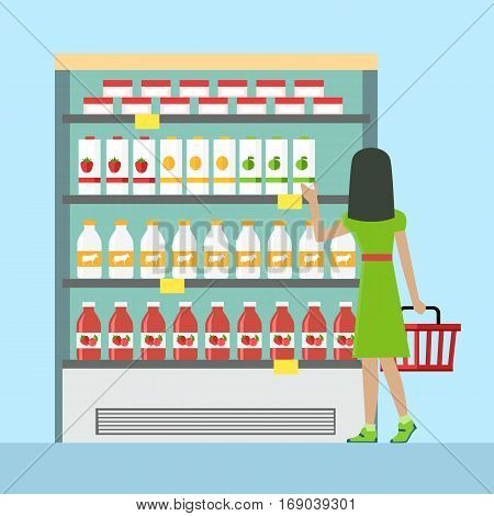 Woman with shopping basket in supermarket. Woman in green dress. Woman shopping, supermarket shopping, marketing people, market shop interior, customer in mall, retail store illustration in flat