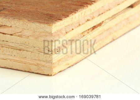 Plywood on white background Close Up Macro
