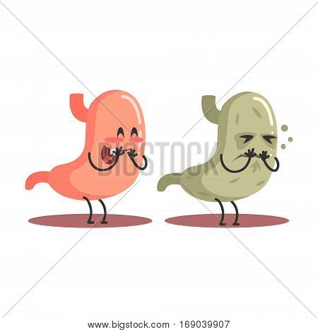 Stomach Human Internal Organ Healthy Vs Unhealthy, Medical Anatomic Funny Cartoon Character Pair In Comparison Happy Against Sick And Damaged. Vector Illustration Humanized Anatomic Elements.
