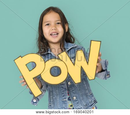 Little Girl Holding Paper craft Pow