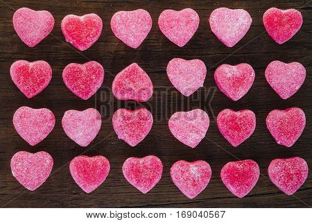 Line Up Pattern Of Candy Heart On Wooden Table, Love Story; Valentine Concept