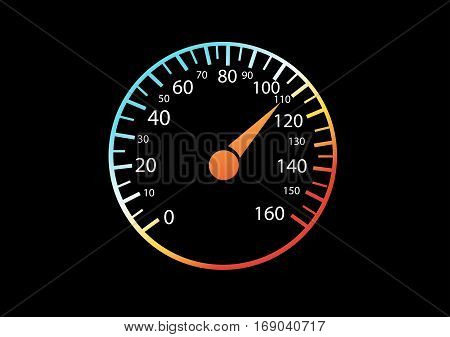Car speedometers on black background vector illustration
