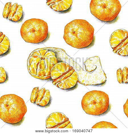 Tangerines fruits are isolated on a white background. Color sketch felt-tip pens. Tropical fruit. Healthy food. Handwork. Fast schematic drawing. Seamless pattern for design.