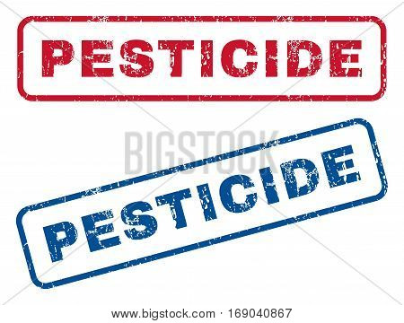 Pesticide text rubber seal stamp watermarks. Vector style is blue and red ink tag inside rounded rectangular shape. Grunge design and unclean texture. Blue and red stickers.