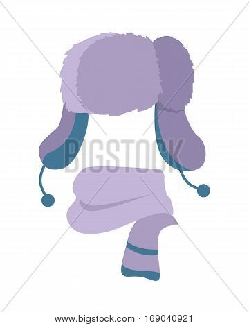 Earflap hat. Woolen warm violet scarf. Violet headwear with two long ear flaps. Scarf twisted around with two blue stripes on white. Stylish winter set for youth. Flat design. Vector illustration