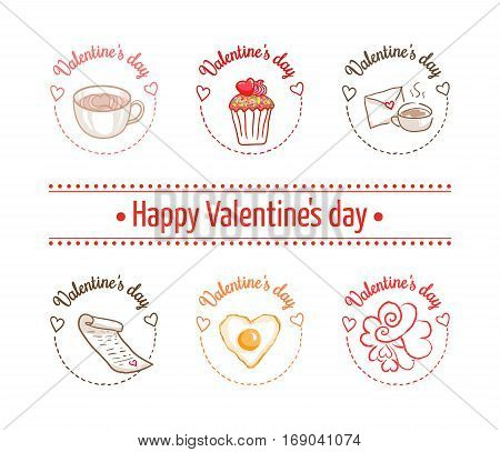 St Valentines day vector design element. Suitable for party invitation, romantic greeting card or web banner. Set of clip arts for February 14. Latte art heart, love letter, cupcake and hearts doodle