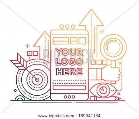 Marketing - vector modern line design illustration with copyspace for Your Logo. Mobile device, hand with magnifying glass, darts - color gradient
