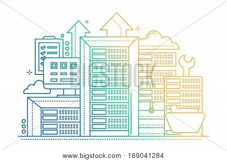 Servers - vector modern line design illustration with communications equipment and tools - color gradient