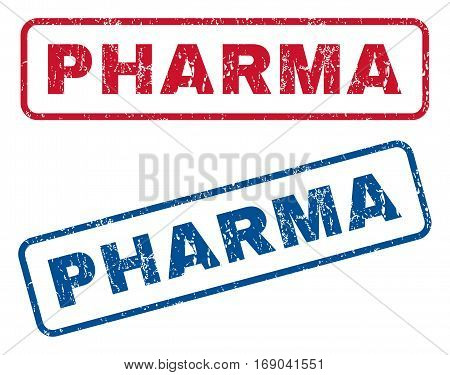 Pharma text rubber seal stamp watermarks. Vector style is blue and red ink caption inside rounded rectangular banner. Grunge design and dust texture. Blue and red stickers.