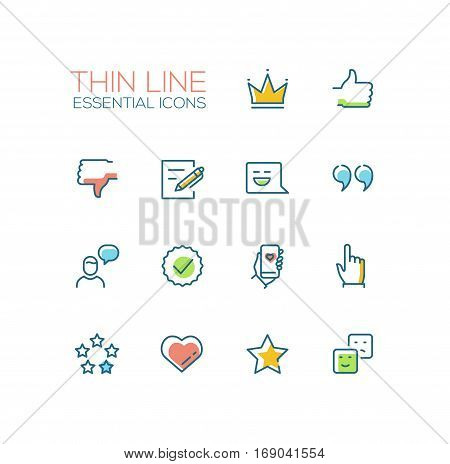 Social Network Signs - modern vector simple thin line design icons and pictograms set with accent color. Crown, like, dislike, post, message, quote, chat, check, phone, click star heart emoticon. Material design concept symbols
