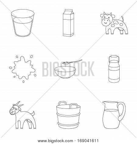 Milk set icons in outline style. Big collection of milk vector symbol stock