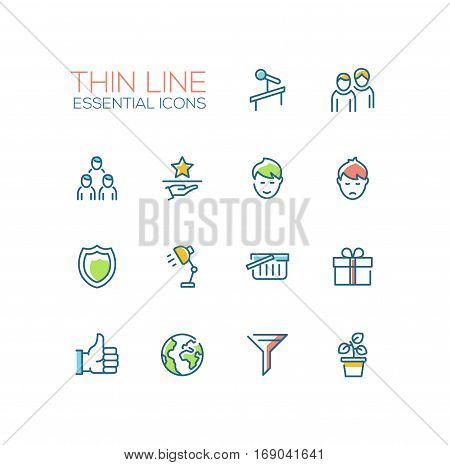 Business Essential - modern vector plain simple thin line design icons and pictograms set with accent color. Tribune, people, network, award, shield, lamp, shopping basket, present, thumb up, globe, funnel plant. Material design concept symbols