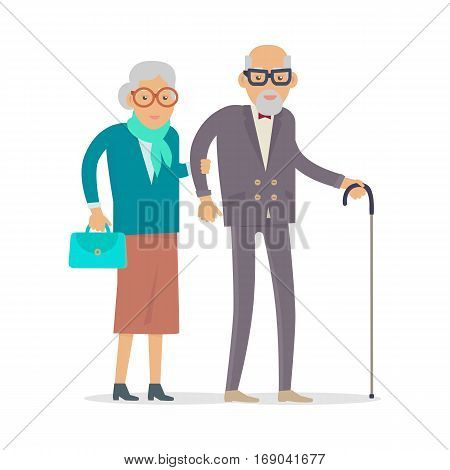 Aged people walking isolated on white. Happy senior man and woman together. Middle aged couple. Older man and woman having fun together in flat design. Vector illustration