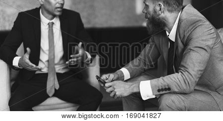 Businessmen Talking Brainstorm Serious Colleague