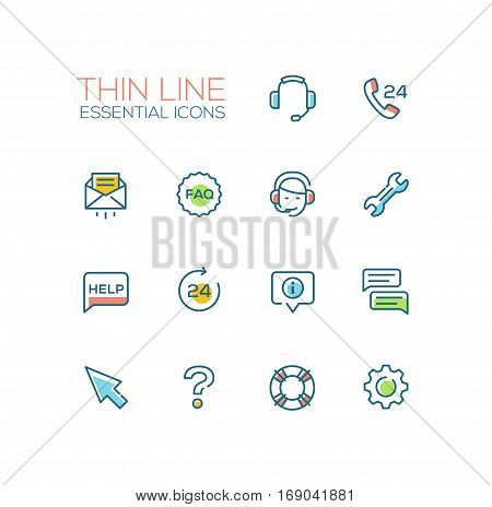Help Center - modern vector simple thin line design icons and pictograms set with accent color. Headset, phone, twenty four-seven, mail, faq, support, wrench, information, chat, pointer arrow, question mark, lifebuoy cog. Material design concept symbols