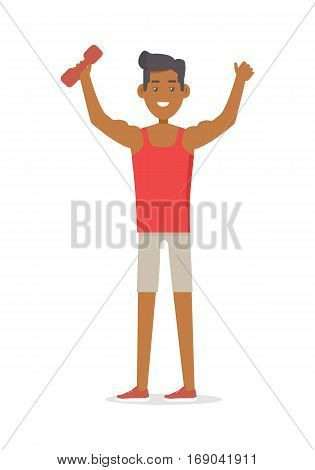 Young man goes in for sports. Sportive athlete with little barbell. Athletics sport template. Active way of life concept. Competitions, achievements. Happy cartoon character. Vector illustration.