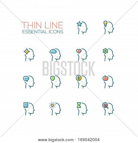 Thoughts Signs in Heads - modern vector simple thin line design icons and pictograms set with accent color. Head with star, bulb, cloud, heart, cog, speech bubble, shield, dollar, apple, book, sun, hourglass target. Material design concept symbols