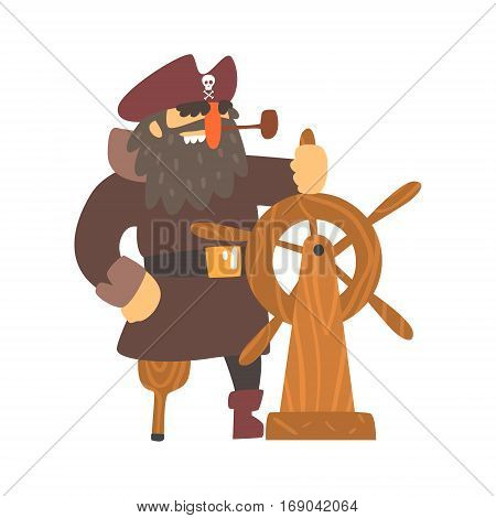 Scruffy Pirate Captain On Wooden Leg With Eye Patch Holding To Stirring Wheel, Filibuster Cut-Throat Cartoon Character.