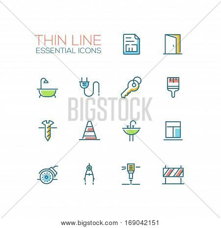 Home, road Repair - modern vector simple thin line design icons and pictograms set with accent color. Plan, door, bath, plug, key, paint brush, screw, road cone, sink, window, angle grinder compasses jackhammer sign. Material design concept symbols
