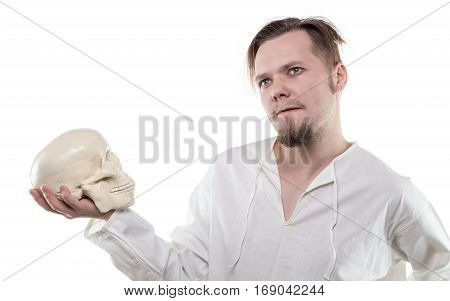 Puzzled man with human skull on white background