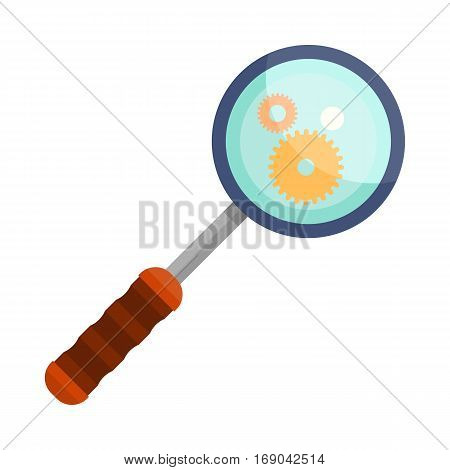 Magnifying glass icon focused on gear elements. Loupe with blue glass and wooden handle. Search tool. Research tool. Business concept. Flat pictogram symbol. Isolated vector illustration on white