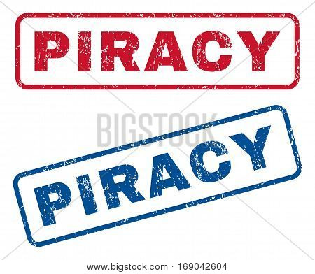 Piracy text rubber seal stamp watermarks. Vector style is blue and red ink tag inside rounded rectangular shape. Grunge design and dirty texture. Blue and red stickers.