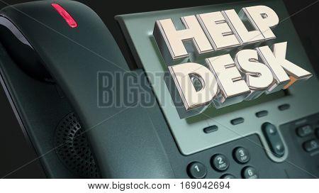 Help Desk Telephone Computer IT Support 3d Illustration
