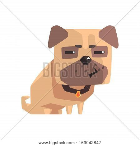 Suspicious Little Pet Pug Dog Puppy With Collar Emoji Cartoon Illustration. Stylized Geometric Vector Design.