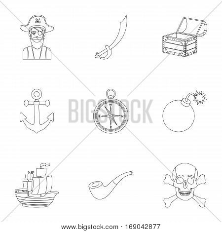 Pirates set icons in outline design. Big collection of pirates vector symbol stock illustration
