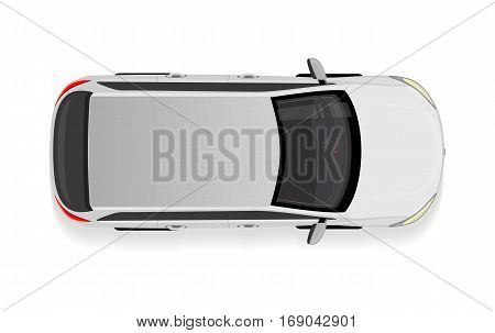 White car from top view vector illustration. Flat design auto. Illustration for transport concepts, car infographic, icons or web design. Delivery automobile. Isolated on white background. Sedan