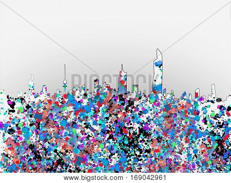 Colorful Marbled Paper Artistic Kuwait Daytime Skyline