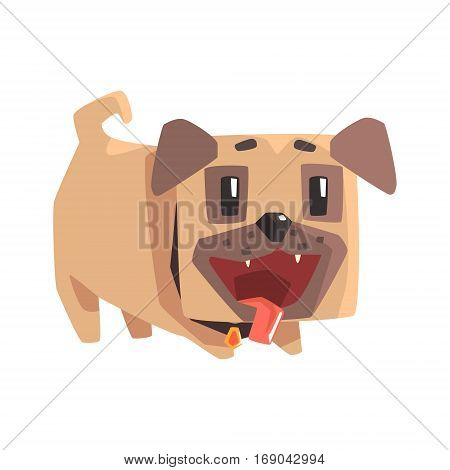 Playful Little Pet Pug Dog Puppy With Collar Emoji Cartoon Illustration.  Stylized Geometric Vector Design.