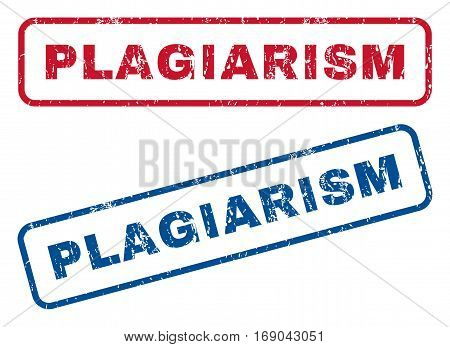 Plagiarism text rubber seal stamp watermarks. Vector style is blue and red ink caption inside rounded rectangular banner. Grunge design and dust texture. Blue and red emblems.