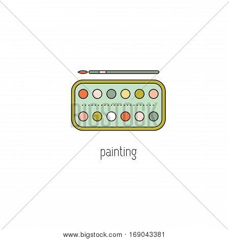 Painting vector thin line icon. Watercolor paint and paintbrush. Colored isolated symbol. Logo template, element for business card or workshop announcement. Simple mono linear modern design.