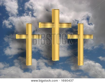 3D Golden Crosses In The Sky