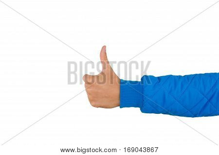Man's hand with thumb up isolated on white background close up. High resolution product. Like. Positive concept.