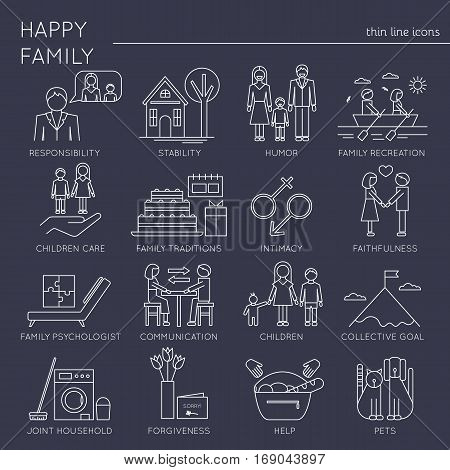 Thin line icons set, vector illustration. Family values, parents and children, fundamentals of harmony in couple relationships. Strong metaphors, isolated symbols. Simple mono linear design.