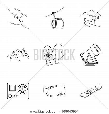 Ski resort set icons in outline style. Big collection of ski resort vector symbol stock