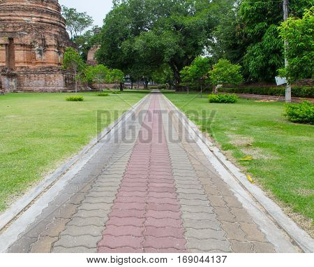 many color concrete block walkway in temple