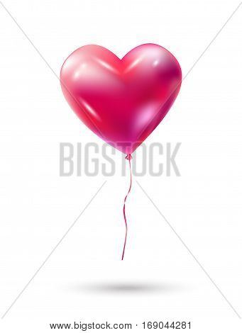 Heart balloon. Vector decoration. Red Heart balloon isolated on white background. Heart romance love symbol for Valentine's Day, Birthday, Wedding, greeting cards, invitation, advertising, banners design.