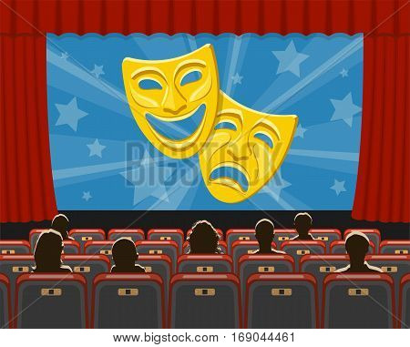 cinema auditorium flat icons with seats, audience and theater masks on screen, vector illustration