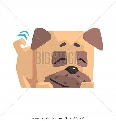 Sleeping Little Pet Pug Dog Puppy With Collar Smiling And Wiggling Tail Emoji Cartoon Illustration. Vector Design.