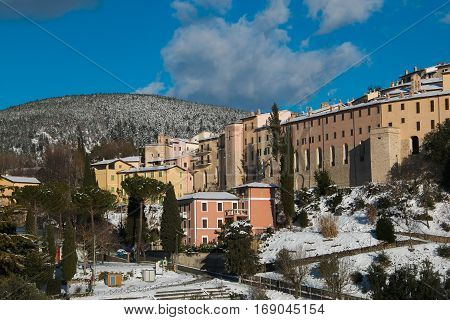 Panoramic view of Nocera Umbra with snow, Italy