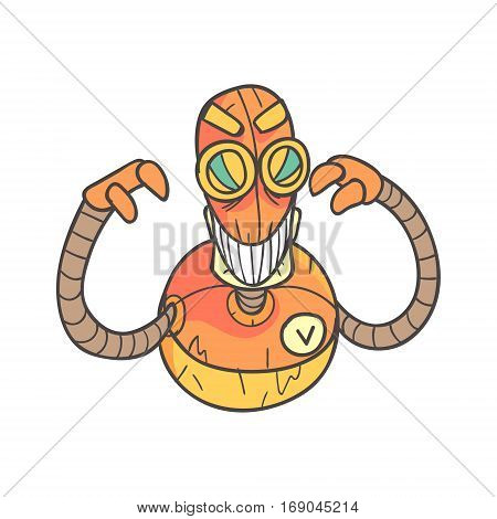 Angry Evil Orange Robot Cartoon Outlined Illustration With Cute Android And His Emotions. Comic Vector Sticker With Humanoid Artificial Intelligence Character.