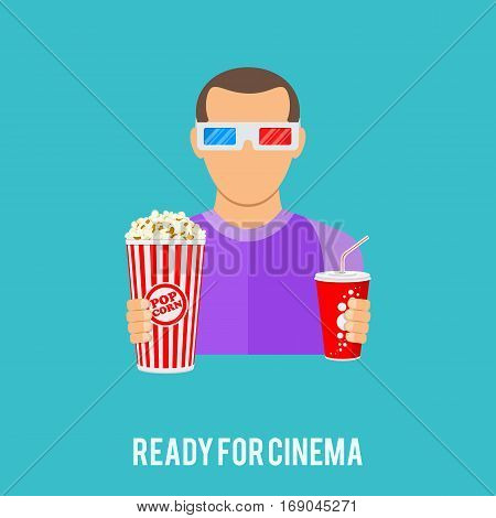 ready for Cinema and Movie concept with flat Icons popcorn, soda water, 3D glasses and viewer. Isolated vector illustration