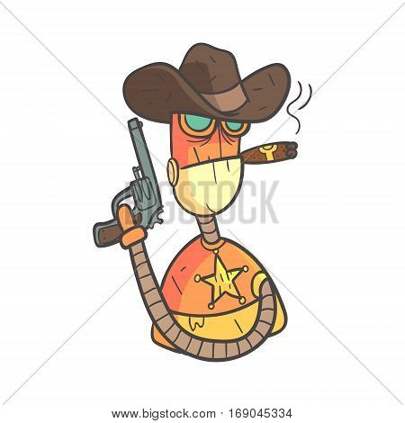 Wild West Sheriff Orange Robot In Cowboy Hat With Gun And Cigar Cartoon Outlined Illustration With Cute Android And His Emotions. Comic Vector Sticker With Humanoid Artificial Intelligence Character.