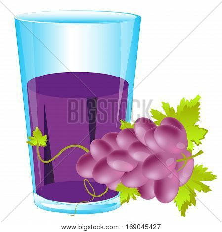 Grape and juice in glass on white background