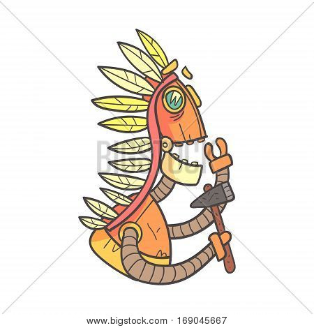 American Indian Orange Robot In War Bonnet With Tomahawk Cartoon Outlined Illustration With Cute Android And His Emotions. Comic Vector Sticker With Humanoid Artificial Intelligence Character.