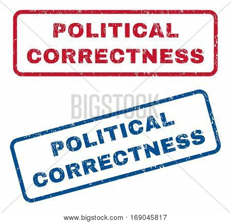 Political Correctness text rubber seal stamp watermarks. Vector style is blue and red ink caption inside rounded rectangular shape. Grunge design and dirty texture. Blue and red signs.