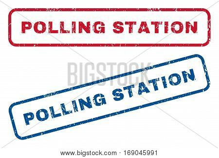 Polling Station text rubber seal stamp watermarks. Vector style is blue and red ink tag inside rounded rectangular banner. Grunge design and dirty texture. Blue and red signs.